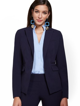 New York & Co. Petite Faux-Pocket Button-Front Blazer - Double Stretch