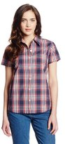 Dickies Women's Short Sleeve Poplin Plaid Shirt