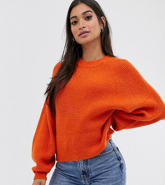 ASOS DESIGN Petite fluffy sweater with balloon sleeve