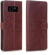 Gotd Wallet Flip Case Cover With Card Slots Stand For Samsung Galaxy Note 8 (Brown)