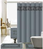 Latitude Run Elysee 18 Piece Embroidery Shower Curtain Set