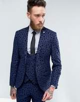 Noose & Monkey Super Skinny Suit Jacket With Leopard Flocking