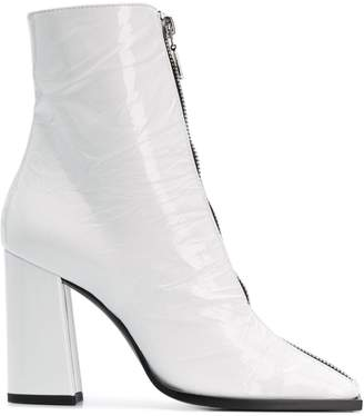 MSGM front zip squared toe boots