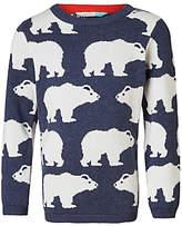 John Lewis Boys' Polar Bear Knit Jumper, Blue