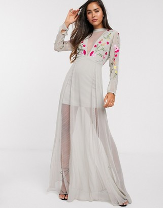 Frock and Frill embroidered maxi dress with sheer panels in grey