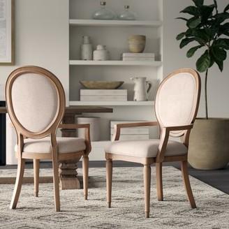 Tekamah Linen Upholstered Arm Chair in Brown/Cream (Set of 2) Greyleigh