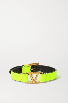 Valentino Garavani Neon Leather And Gold-tone Bracelet - Chartreuse