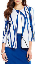 Ming Wang Jewel Neck 3/4 Sleeve Embroidered Trim Jacket