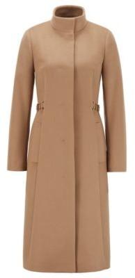 HUGO BOSS Long Coat In Virgin Wool With Cashmere - Light Brown