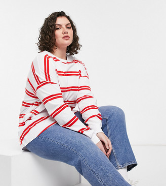 ASOS DESIGN Curve long sleeve T-shirt with cuff and double stripe in white