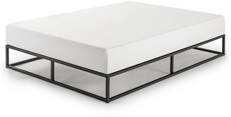 "Mellow Modernista 10"" Queen Metal Platform Bed Frame With Wooden Slats, Black"