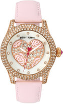 Betsey Johnson Women's Light Pink Leather Strap Watch 42mm BJ00019-75
