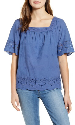 Lucky Brand Eyelet Peasant Top