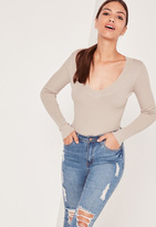 Missguided Plunge Knit Bodysuit Nude