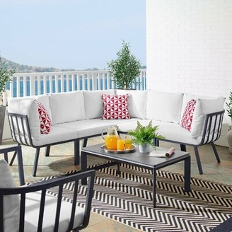 Montclaire Outdoor Patio 3 Piece Sectional Seating Group with Cushions Brayden Studio Cushion Color: White, Frame Color: Gray