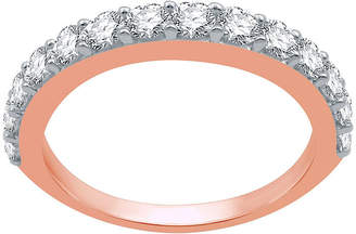 FINE JEWELRY Womens 1 CT. T.W. Genuine White Diamond 10K Rose Gold Stackable Ring