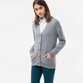 Paul Smith Women's Grey Marl Cashmere Cardigan With Flower Button