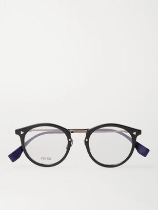 Fendi Round-Frame Acetate and Silver-Tone Optical Glasses - Men - Black