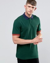 Fred Perry Polo Shirt With Contrast Trim In Ivy
