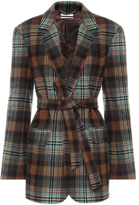Co Checked wool-flannel belted blazer