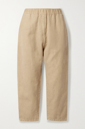 Nili Lotan Casablanca Cropped Cotton And Linen-blend Twill Tapered Pants - Sand