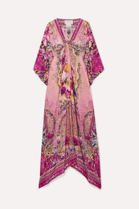 Camilla Embellished Printed Silk Crepe De Chine Kaftan - Pink