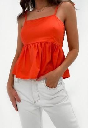 Missguided Petite Orange Cami Strap Peplum Top