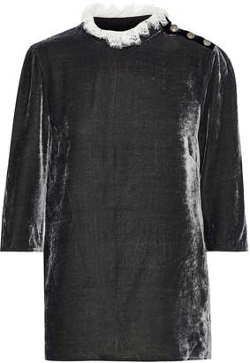Philosophy di Lorenzo Serafini Lace-trimmed Velvet Top