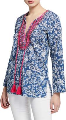 Bella Tu Brooke Floral-Print Split-Neck Long-Sleeve Tunic