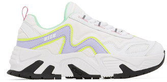 MSGM White and Purple Chunky Sneakers