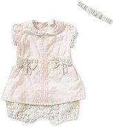 Edgehill Collection Baby Girls Newborn-6 Months Swiss Dot Romper and Headband Set