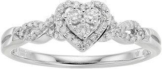 Hallmark Love Found Us Sterling Silver 1/5 Carat T.W. Diamond Heart Halo Ring