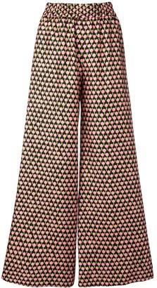 La DoubleJ Geometric Print Flared Trousers