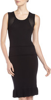 Erin Fetherston Fitted Mixed-Knit Dress, Black