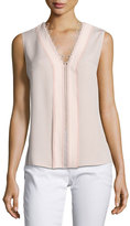 Elie Tahari Colette Sleeveless Lace-Trim Silk Blouse, Pink