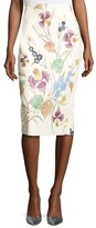 Diane von Furstenberg Floral Leather Midi Pencil Skirt, Off-White Multicolor