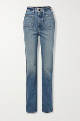 KHAITE Isabella High-rise Straight-leg Jeans - Mid denim