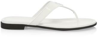 Prada Logo Patent Leather Thong Sandals