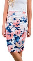 Annflat Women's Retro Floral High Waist Stretchy Bodycon Office Pencil Midi Skirt