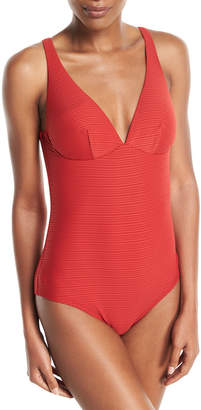 Jets Disposition Striped DD Underwire One-Piece Swimsuit, (D-DD Cups)