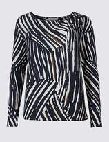 Marks and Spencer Animal Print Twist Neck Long Sleeve T-Shirt