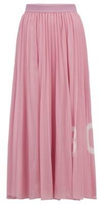 HUGO BOSS Logo-print plisse maxi skirt with elasticated waistband