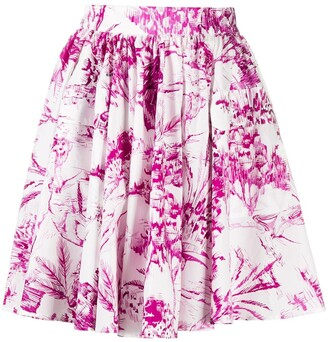 MSGM Abstract-Print Flared Skirt