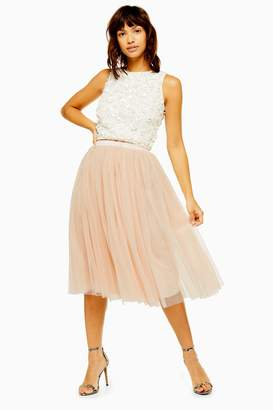 Womens **Val Midi Skirt By Lace & Beads - Nude