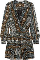 Veronica Beard Edison Ruched Printed Chiffon Mini Dress - Blue