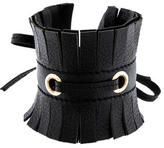 Saint Laurent Leather Fringe Cuff