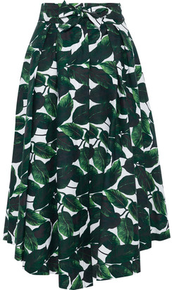 Milly Jackie Pleated Printed Stretch-cotton Midi Skirt