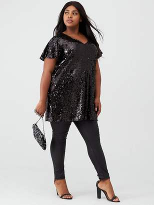 V By Very Curve Short Sleeve Sequin Tunic - Black