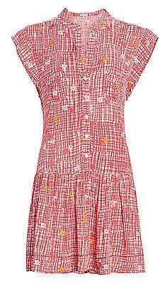 Poupette St Barth Women's Amora Floral & Check Drop-Waist Mini Shirtdress