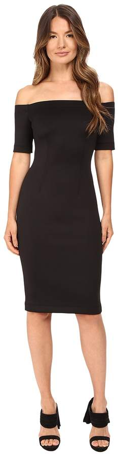 Yigal Azrouel Black Scuba Off the Shoulder Dress Women's Dress